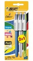 Bic balpen 4 Colours Original + Shine + Fluo, blister 2 + 1 gratis
