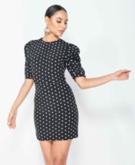 Witte Parisian Polka dot puffed bodycon mini dress