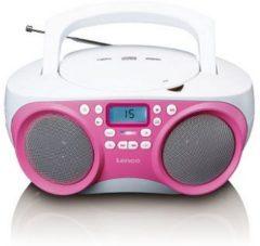 Lenco SCD301 Draagbare Radio CD-Speler met USB-Aansluiting Roze/Wit