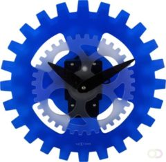 Blauwe NeXtime Moving Gears - Wandklok - Rond - Acrylic - Ø 39 cm - Blauw