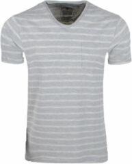 Grijze New Republic Earthbound heren t-shirt gestreept borstzak