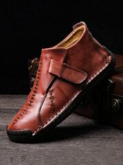 Newchic Menico Large Size Men Hand Stitching Hook Loop Leather Ankle Boots