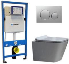 Douche Concurrent Geberit UP 320 Toiletset - Inbouw WC Hangtoilet Wandcloset - Alexandria Flatline Sigma-20 Mat/Glans Chroom