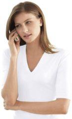 Witte Casual Looks shirt met korte mouwen en V-hals