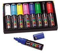 Donkerblauwe Uni-ball Paint Marker op waterbasis Posca PC-8K doos van 8 stuks in geassorteerde kleuren