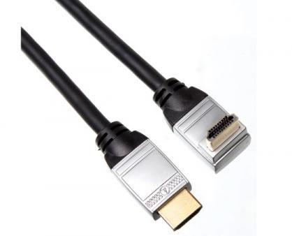 Afbeelding van Zilveren Velleman HDMI male naar HDMI male haaks - Zwart - 1.8 meter
