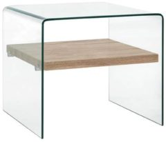 VidaXL Salontafel 50x50x45 cm gehard glas transparant VDXL 284742