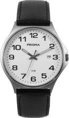 Prisma P.1685 Horloge staal/leder zwart 39 mm