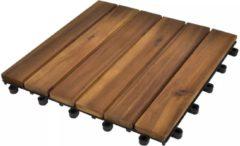 Bruine VidaXL Terrastegels acaciahout 30 x 30 cm verticaal patroon (10 stuks)