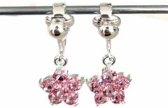 MNQ bijoux - Clipoorbellen - Oorclips - Kind - Meisje - Glitterbloem - Roze - Hangers