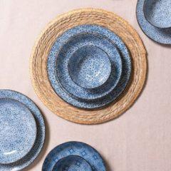 Clayre & Eef | Groot bord Ø 26 cm | Blauw | Keramiek | rond | 6CEFP0046