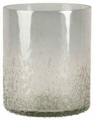 Clayre & Eef Glazen Theelichthouder 6GL3173 Ø 11*13 cm Grijs Glas Rond Waxinelichthouder Windlichthouder