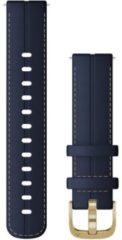 Garmin Quick release blauw lederen polsband 18mm met lichtgouden gesp
