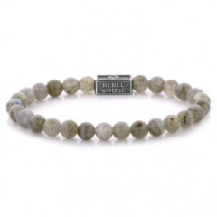 Rebel & Rose Rebel and Rose RR-6S005-S Rekarmband Beads Labradorite Shield 925 zilver 6 mm zilverkleurig-bruin S 16,5 cm