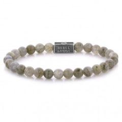 Rebel & Rose Rebel and Rose RR-6S005-S Rekarmband Beads Labradorite Shield 925 zilver 6 mm zilverkleurig-bruin S 16,5 cm