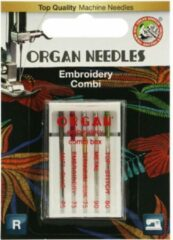 Zilveren Organ Needles Embroidery combi, borduur combi, borduurmachine naalden