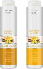 Lunel VANILLE set SHAMPOO (400 ML.) + BALSEM (400 ML.) voor droog en beschadigd haar, haarmasker, voedend, glanzend haar, gezond haar, natuurlijke extracten
