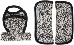 Zandkleurige Ukje Gordelbeschermer voor Maxi-Cosi - Superzacht katoen - Zand luipaard