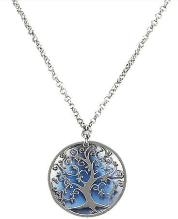 Afbeelding van Blauwe Klingel Hanger 'Levensboom' met ketting blauw