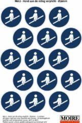 Blauwe Moire BV Pictogram sticker 75 stuks M012 - Hand aan de reling verplicht - 50 x 50mm - 15 stickers op 1 vel