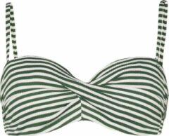 Protest - Women's MM Irma D-Cup Bandeau - Bikinitop maat 36 - S, grijs/olijfgroen/wit