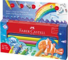 Faber-Castell Kleurpotlood Jumbo GRIP assorti kleuren, 1 slijper en 2 stickervellen
