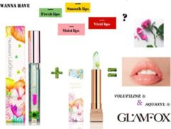 Roze Glamfox Korean Skincare – MoonLight Flower – Lipgloss & Lipstick Set - Lip Plumper - Langhoudend Lippenstift en Lipgloss transparant - Make Up set