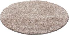 Impression Shaggy Hoogpolig Rond vloerkleed Beige Effen Tapijt Carpet - 80 x 80 cm