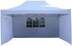 Outsunny Faltpavillon Faltzelt 3x4,5m weiß inkl. 3 Seitenteile Faltpavillon Gartenzelt Partyzelt Pavillon Bierzelt