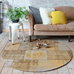 Fraai Rond patchwork vloerkleed - Dreams Okergeel Ø 200cm