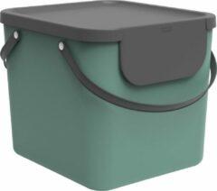 Rotho Albula Afvalscheidingssysteem 40l voor de keuken, Kunststof (PP) BPA-vrij, donkergroen/antraciet, 40l (40.0 x 35.8 x 34.0 cm)