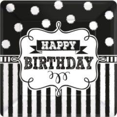 Partywinkel Verjaardag Borden Happy Birthday Zwart 25,4x25,4cm 8 stuks