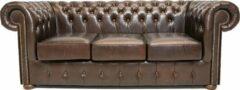 Bruine Chesterfield Bank Class Leer | 3-zits | Cloudy Brown Dark| 12 jaar garantie