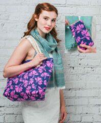 Blauwe Hazel & Pip Flower Patroon Canvas Strandtas Shopper met bijpassende Portemonnee