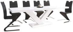 Hubertus Meble Uitschuifbare Eettafel Victoria 160 cm tot 256 cm hoogglans wit