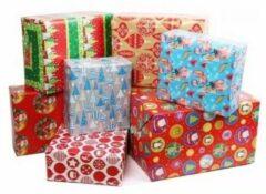 Bellatio Decorations 3x Kerst Kadopapier - 200 X 70 - Cadeaupapier / Inpakpapier Voor Kerstmis