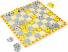 Blauwe Small Foot dammen kat & muis junior 26 x 26 cm geel/grijs