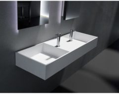 Witte Cross Tone Solid surface standaard wastafel B120xD40xH15cm rechthoek zonder waste wit mat CTS-2030