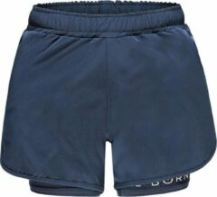 Marineblauwe Re-Born Sports Re-Born 2 Laagse Stretch Short Dames - Navy - Maat XL