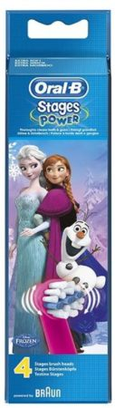 Afbeelding van Blauwe Oral-B opzetborsteltjes Stages Power, met figuren uit Disneys Frozen, set van 4