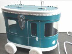 Zilveren Kidsboetiek Tram speelkoffertje petrol