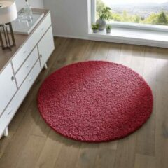 Tapeso Rond vloerkleed hoogpolig effen Spectrum - rood 120 cm rond