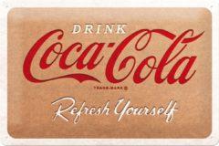 Rode Nostalgic Art Merch Coca-Cola Cardboard Logo Metalen Bord - 20 x 30 cm