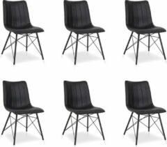 Lineaflex Seating Eetkamerstoel Dean - Set van 6 - Zwart PU Kunstleer
