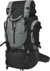 VidaXL Rugzak hiking - 100% polyester - Zwart en grijs - 37 x 22,5 x 73 cm