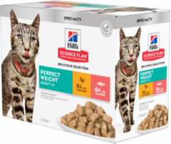 Hill's Feline Pouch Adult Perfect Weight Multipack - Kattenvoer - 12x85 g