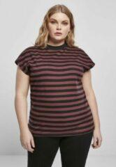 Bordeauxrode Urban Classics Dames Tshirt -M- Y/D Stripe Bordeaux rood/Zwart