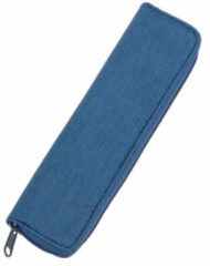 Pennenetui Alassio polyester en katoen pennenetui tweedelig kleur blauw JU-2732