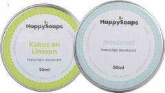 SET HappySoaps Deodorant NEUTRAAL & KOKOS LIMOEN Vegan, natuurlijk, & handgemaakt