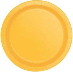 UNIQUE - 16 kartonnen bordjes zonnebloem geel 22 cm - Decoratie > Borden